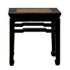 Antique Revival Chinese-Style End Table with Rattan Top