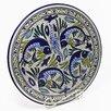 """Le Souk Ceramique Aqua Fish Design 15"""" Round Platter"""