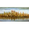 Moe's Home Collection Gold Skyline Painting Print on Wrapped Canvas