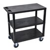 Luxor E Series Heavy Duty Utility Cart with 3 Flat Shelves