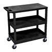 Luxor E Series Utility Cart with 2 Tub/1 Flat Shelves