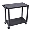 Luxor E Series Utility Cart with 2 Flat Shelves