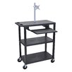 Luxor Presentation Cart with Pullout Shelf and Monitor Mount