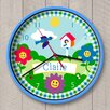 "Olive Kids 12"" Happy Flowers Personalized Wall Clock"