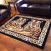 DonnieAnn Company African Adventure Camel Twin Tigers Leopard Skin Print Area Rug