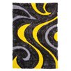 DonnieAnn Company 3D Shaggy Abstract Wavy Swirl Yellow/Black Area Rug