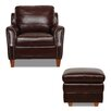 Luke Leather Austin Arm Chair and Ottoman