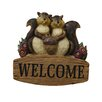 Alpine Polyresin Welcome Sign with Squirrel Family Statue