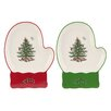 Spode Christmas Tree Serve Mitten Dish (Set of 2)