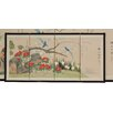 """Oriental Furniture 18"""" x 36"""" Birds and Flowers 4 Panel Room Divider"""