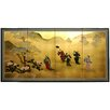 "Oriental Furniture 36"" x 72"" Gold Leaf Flower Dance 4 Panel Room Divider"