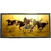 """Oriental Furniture 36"""" x 72"""" Gold Leaf Riders In The Storm On 4 Panel Room Divider"""