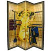 Oriental Furniture 6 Feet Tall Kimono Room Divider in Gold