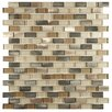 EliteTile Commix 0.5'' x 1.88'' Aluminum and Glass Mosaic Tile in Amador