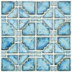 EliteTile Moonlight Random Sized Porcelain Hand-Painted Tile in Diva Blue
