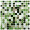 """EliteTile Fused 0.75"""" x 0.75"""" Glass Mosaic Tile in Forest Green"""