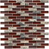 "EliteTile Sierra 0.5"" x 1.875"" Glass and Natural Stone Mosaic Tile in Bordeaux"