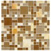 EliteTile Sierra Random Sized Glass and Natural Stone Mosaic Tile in Versailles Amber