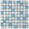EliteTile Minerva Porcelain Mosaic Tile in Blue and White