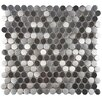 "EliteTile Vulcan Metal and Porcelain 11.88"" x 11.88"" Mosaic Tile in Silver"