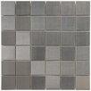"EliteTile Vulcan 1.875"" x 1.875"" Metal and Porcelain Mosaic Tile in Silver"