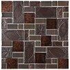 EliteTile Eden Random Sized Glass and Stone Mosaic Tile in Walnut