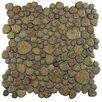 EliteTile Boulder Random Sized Porcelain Pebble Tile in Brownstone