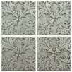 "EliteTile Milton 2"" x 2"" Tozetto Medallion Floor and Wall Insert Tile in Pewter"
