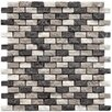 "EliteTile Grizelda 0.5"" x 1.25"" Natural Stone Mosaic Tile in Charcoal"