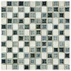 """EliteTile Interval 0.88"""" x 0.88"""" Ceramic and Glass Mosaic Wall Tile in Azure White And Black Mix"""