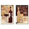 Stupell Industries Wine Typography Kitchen 2 Piece Wall Plaque Set