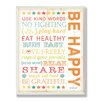 Stupell Industries The Kids Room Be Happy Kids Typography Rules Rectangle Wall Plaque