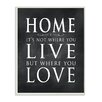 """Stupell Industries """"Home is Not Where You Live But Where You Love"""" Chalkboard Look Textual Art"""