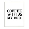 Stupell Industries Coffee, WIFI & My Bed Boutique Chic by Lulusimon Studio Textual Art on Plaque