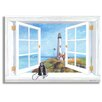 Stupell Industries Pigeon Point Lighthouse Faux Window Scene Painting Print Plaque