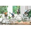 Creative Co-Op Decorative Glass Bottle with Pewter Bird (Set of 4)