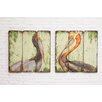 Creative Co-Op Waterside Square MDF Pelican 2 Piece Graphic on Plaque Art Set (Set of 2)