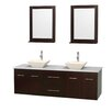 "Wyndham Collection Centra 72"" Double Bathroom Vanity Set with Mirror"