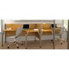 Bestar Pro-Biz Double Side-by-Side L-Desk Workstation With 2 Melamine Privacy Panels