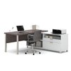 Bestar Pro-Linea 2-Piece L-Shape Desk Office Suite