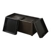 Simpli Home Avalon 3 Piece Upholstered Storage Ottoman Set