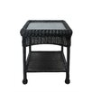 LB International Resin Wicker Outdoor Patio Side Table with Glass Top and Storage Shelf