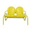 "LB International 41"" Sunshine Yellow Retro Metal Tulip Outdoor Double Glider"