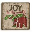 Artehouse LLC Joy to the World Plaid Bear Wooden Wall Décor