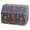 Quickway Imports Antique Pirate Treasure Chest with Lion Rings