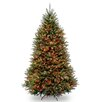 National Tree Co. Dunhill 7.5' Green Fir Artificial Christmas Tree with 600 Incandescent Colored and Multi Lights with Stand