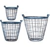 Home Essentials and Beyond 3 Piece Antique Metal Basket
