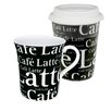 Konitz Cafe Latte Writing Coffee To Stay/Go Mugs 2 Piece Set