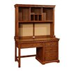 Bolton Furniture Cambridge Wood Pedestal Desk with Hutch and 4 Drawers