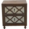 MOTI Furniture 2 Drawer Nightstand
